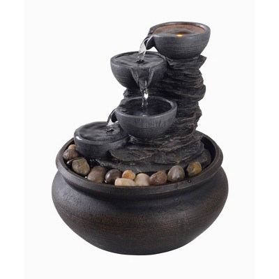 "5.9"" Tabletop Fountain with LED Light Gray- Peaktop"
