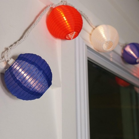 Northlight Set Of 10 Red And Blue Round Chinese Lantern String Lights 15
