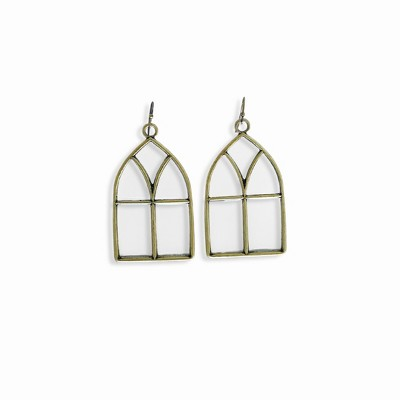 Sanctuary Project Stained Glass Statement Earrings Antique Gold
