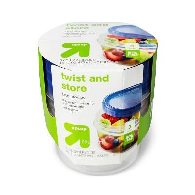 Twist And Store Medium Round Food Storage Container - 3ct/16 fl oz - Up&Up™