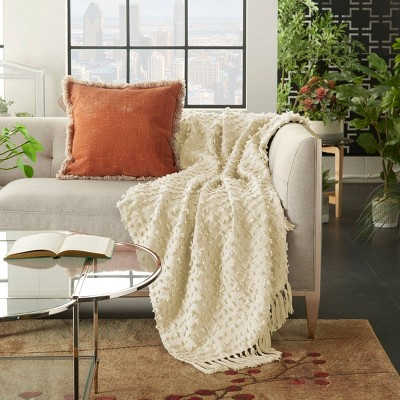 Life Styles Cut Fray Texture Throw Blanket Cream - Mina Victory