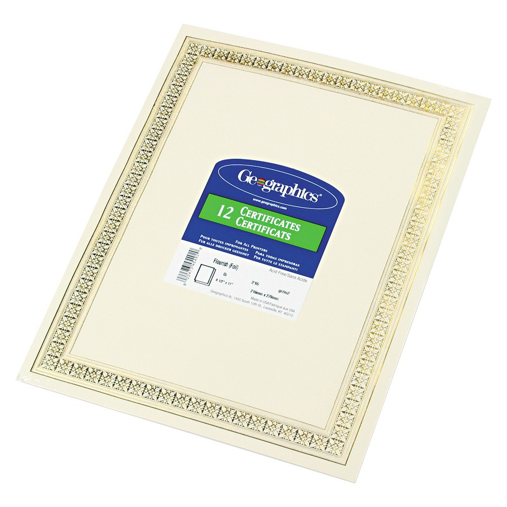 Geographics Foil Enhanced Certificates, 8-1/2 x 11, Gold Flourish Border, 12/Pack, Off White Use to create recognition of achievements. Can be used with inkjet or laser printers, copiers, quick printing, typewriters and calligraphy. For use with Geographics document covers. Compatible with all major software programs. Each has parchment finish. Theme: Flourish; Shape: Rectangular; Width: 8 1/2 ; Height: 11 . Color: Off White.