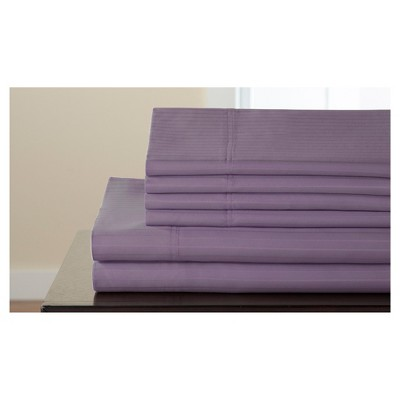 Valencia Stripe Cotton Rich 6pc Sheet Set 800TC (King)Purple