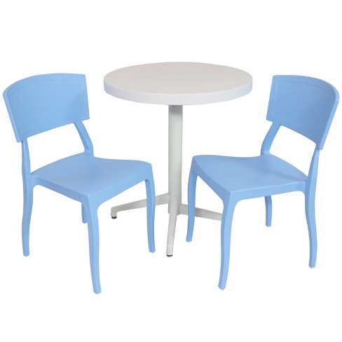 Elmott 3pc All-Weather Plastic Patio Dining Set - Light Blue - Sunnydaze Decor - image 1 of 4