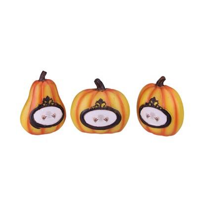 "Northlight Set of 3 Orange and Black Pumpkin Thanksgiving Tabletop Decors 5.5"""