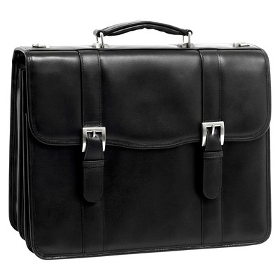 "McKlein Flournoy 15"" Leather Double Compartment Laptop Briefcase - Black"