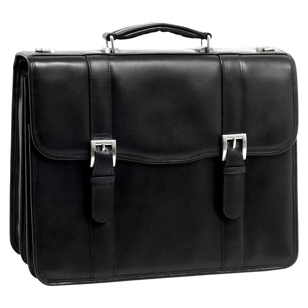 "Image of ""McKlein Flournoy 15"""" Leather Double Compartment Laptop Briefcase - Black"""