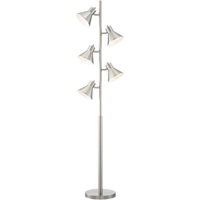 360 Lighting Modern Floor Lamp 5-Light Tree Brushed Nickel Metal Adjustable Heads for Living Room Reading Bedroom Office