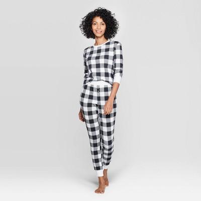 Women's Buffalo Check Thermal Sleep Pajama Set - Stars Above™ Black S
