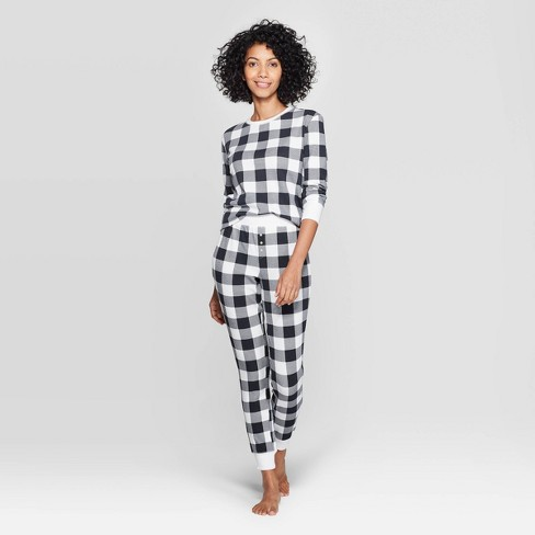 Women's Buffalo Check Thermal Sleep Pajama Set - Stars Above™ Black - image 1 of 2