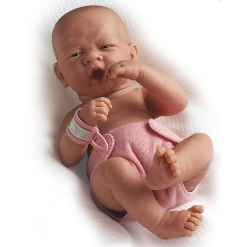 """JC Toys La Newborn 14"""" Anatomically Correct Real Girl Baby Doll - """"First Yawn"""". Made in Spain"""
