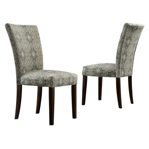 Quinby Parson Damask Dining Chair Wood/Blue (Set of 2) - Inspire Q - image 1 of 5