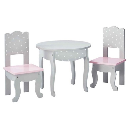 Olivia S Little World 18 Inch Doll Furniture Table And Chair Set Gray Polka Dots