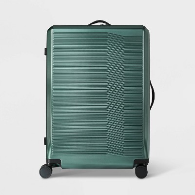 "Hardside 29"" Checked Suitcase Dark Green - Open Story™"