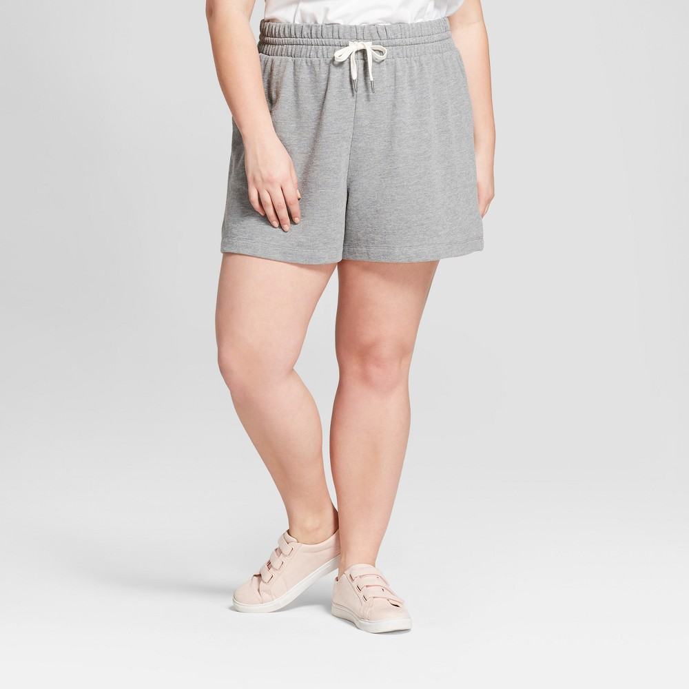 Women's Plus Size French Terry Shorts - A New Day Heather Gray 3X
