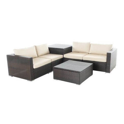 Santa Rosa 6pc All Weather Wicker Patio Sectional Sofa Set With Storage Brown Christopher Knight Home