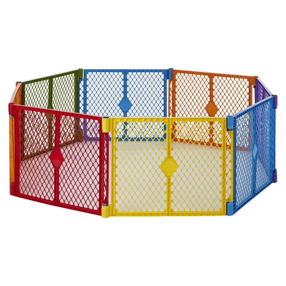 Image of Toddleroo By North States Superyard Colorplay 8 Panel Freestanding Gate