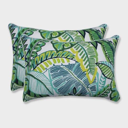 2pk Oversize Aruba Jungle Rectangular Throw Pillows Blue - Pillow Perfect - image 1 of 1