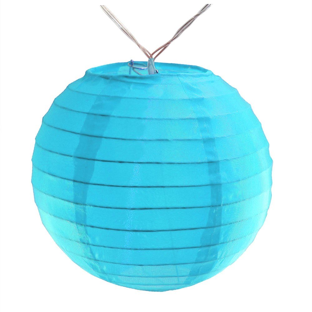Image of 10ct Nylon LED Battery Powered String Lights Turquoise