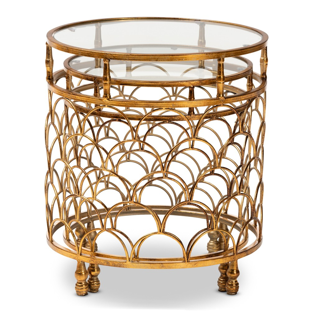 Image of 2pc Aliya Finished Metal and Glass Stackable Accent Table Set Gold - Baxton Studio