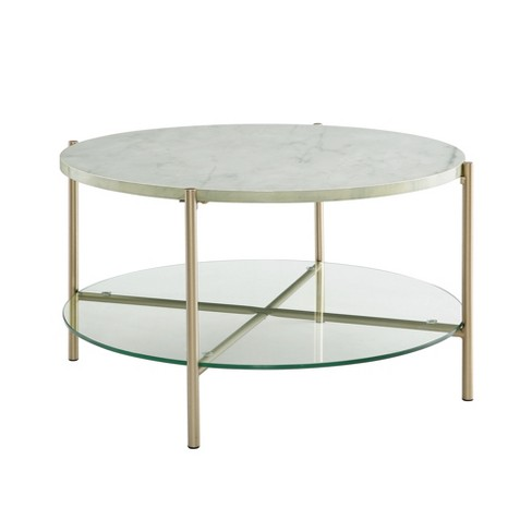 32 Round Coffee Table White Marble Gold Legs Saracina Home
