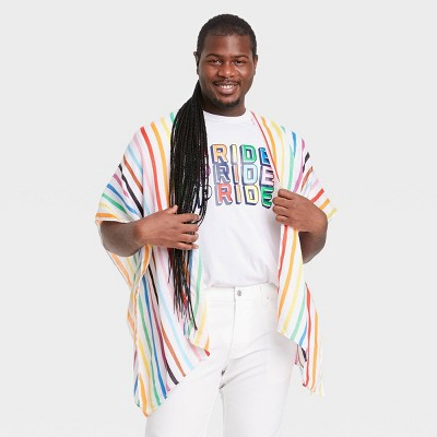 Pride Gender Inclusive Adult Rainbow Striped Ruana Scarf