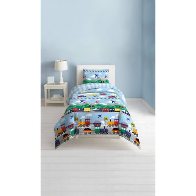Full/Queen Trains and Planes Comforter Set Blue - Dream Factory