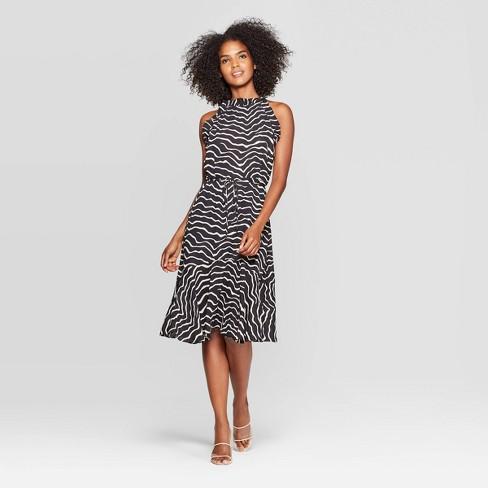 Women's Animal Print Sleeveless Halter Neck A Line Midi Dress - Who What Wear™ Black - image 1 of 3
