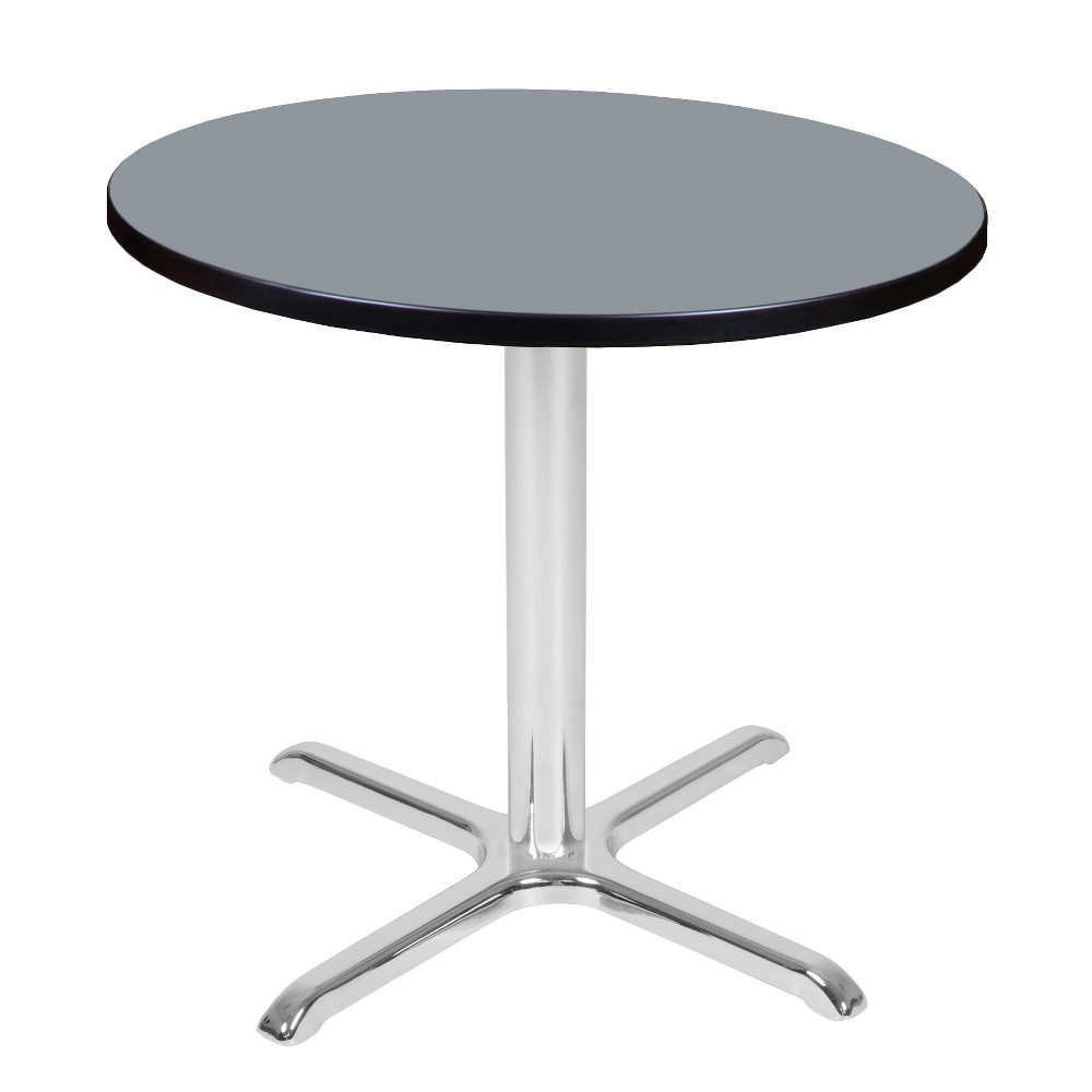 30 Via Round X - Base Table Gray/Chrome (Gray/Grey) - Regency
