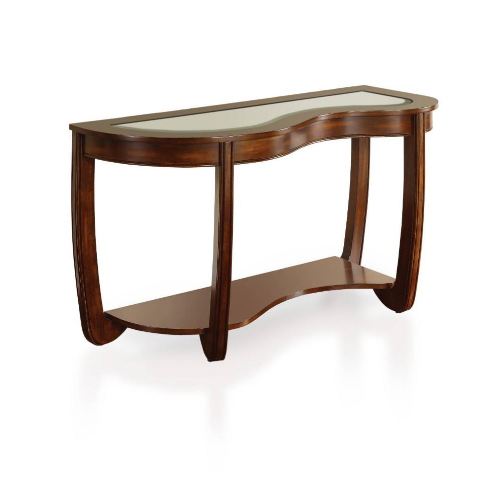 Sun & Pine Kinto Modern Curved Glass Top Sofa Table Dark Cherry, Redwood Brown