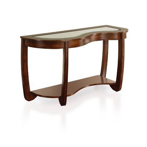 Kinto Modern Curved Gl Top Sofa Table Dark Cherry Sun Pine