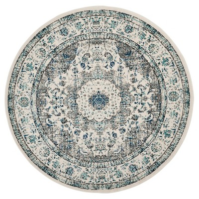 """5'1"""" Round Abstract Loomed Area Rug Gray/Ivory - Safavieh"""