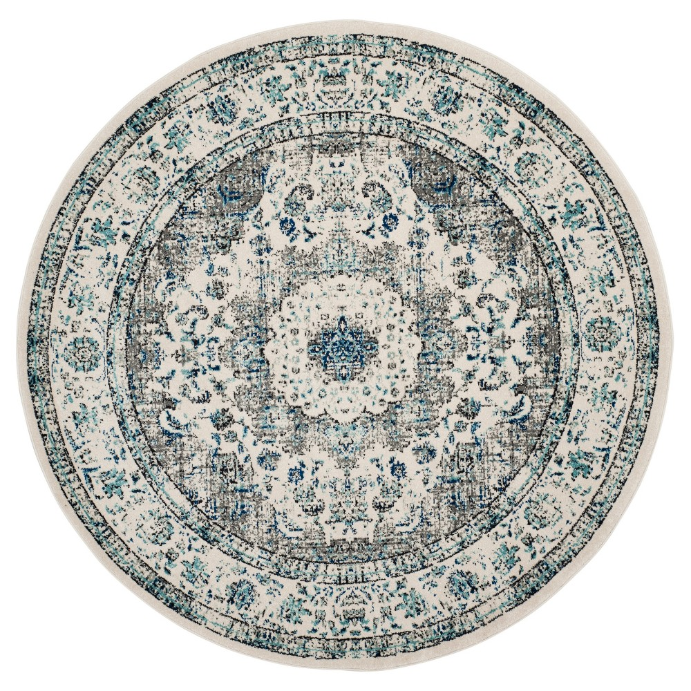 Gray/Ivory Abstract Loomed Round Area Rug - (5'1) - Safavieh