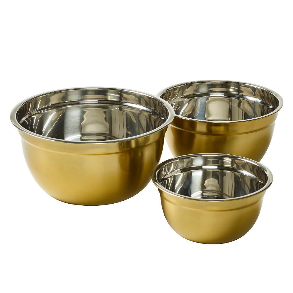Image of Hoan 3pk Stainless Steel Mixing Bowl Set Gold