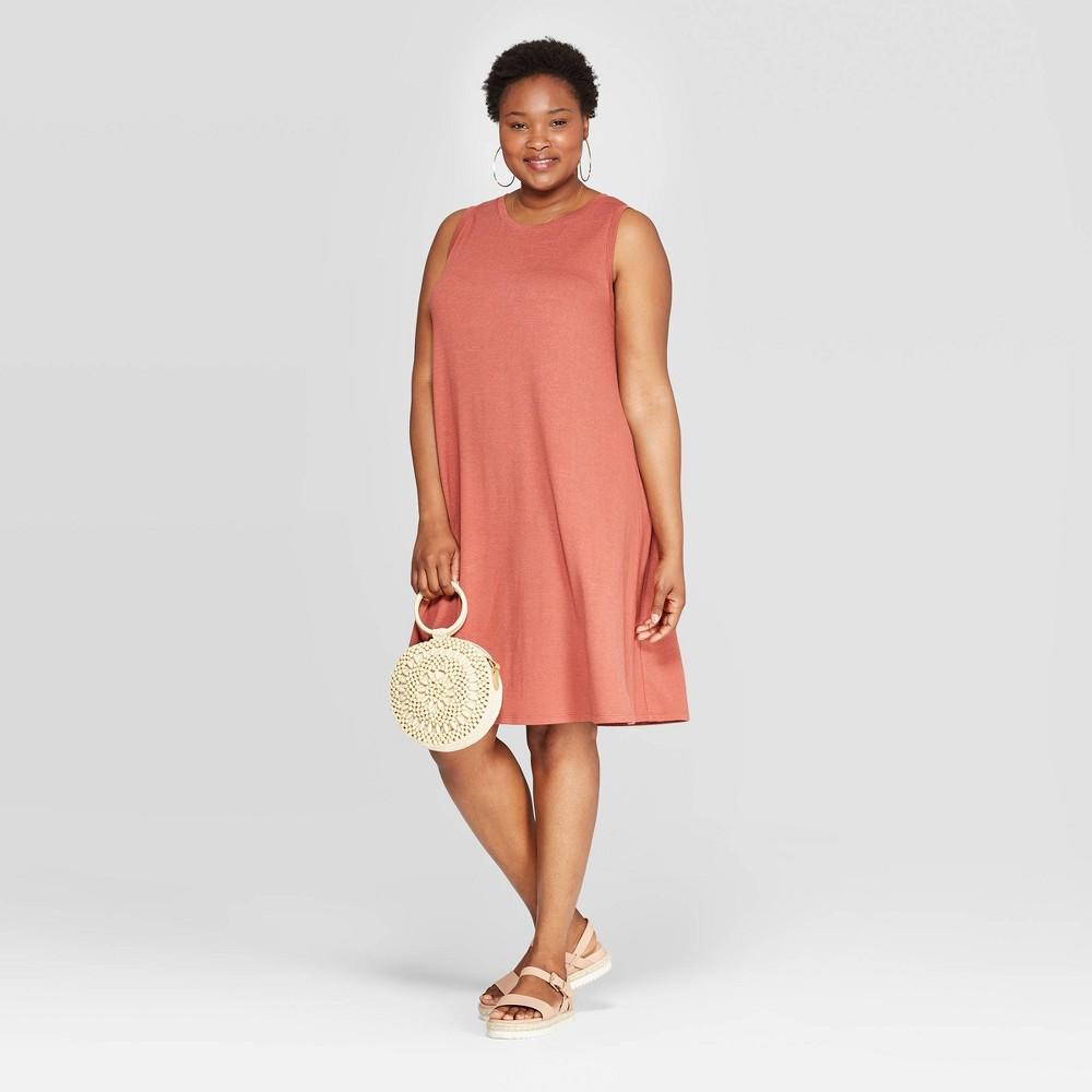 b000c2a33747 Womens Plus Size Sleeveless Crewneck Knit Dress Ava Viv Brown 4X Red
