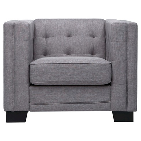 Flatiron Tufted Arm Chair Smoke - Inspire Q - image 1 of 6