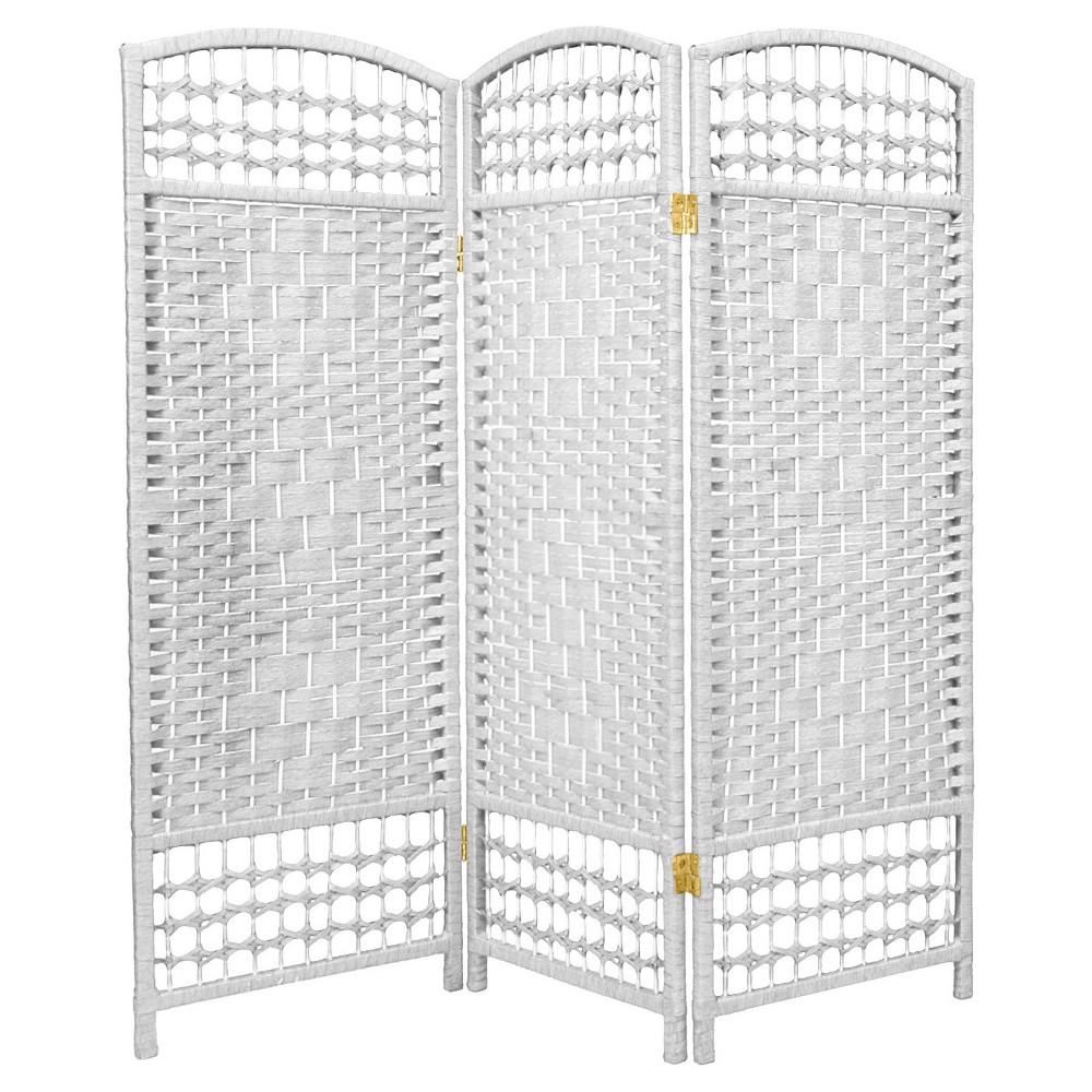 Image of 4 ft. Tall Fiber Weave Room Divider - White (3 Panels) - Oriental Furniture