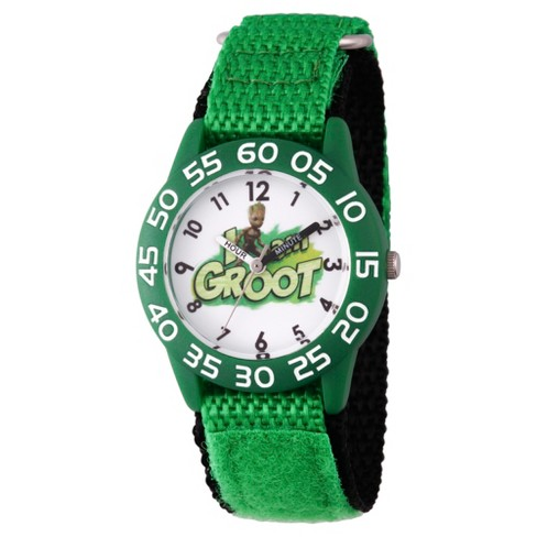 Boys' Marvel® Guardians Of The Galaxy Vol. 2 Groot Plastic Time Teacher Watch - Green - image 1 of 2