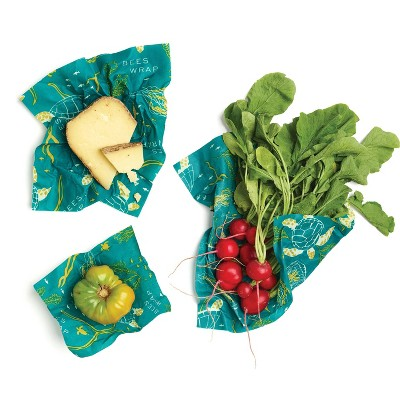 Bee's Wrap 3pk Reusable Beeswax Food Wraps Sustainable Plastic Free - 1 Small 1 Medium 1 Large Teal