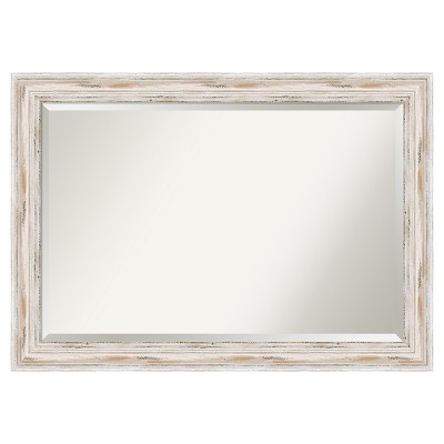 "41"" x 29"" Alexandria White Wash Framed Wall Mirror - Amanti Art"