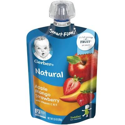 Gerber Toddler Apple Mango & Strawberry Fruit Squeezable Puree - 3.5oz