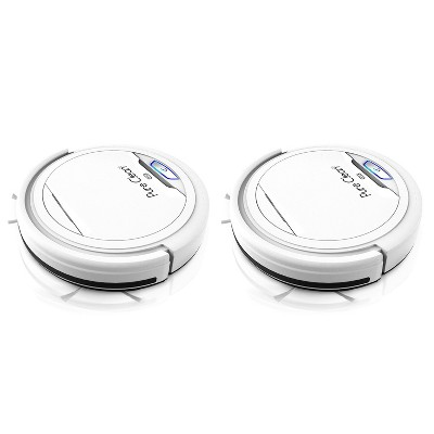 Pyle PUCRC25.5 PureClean Smart Automatic Robot Vacuum Compact Powerful Home Cleaning System for All Indoor Floor Surfaces, White (2 Pack)