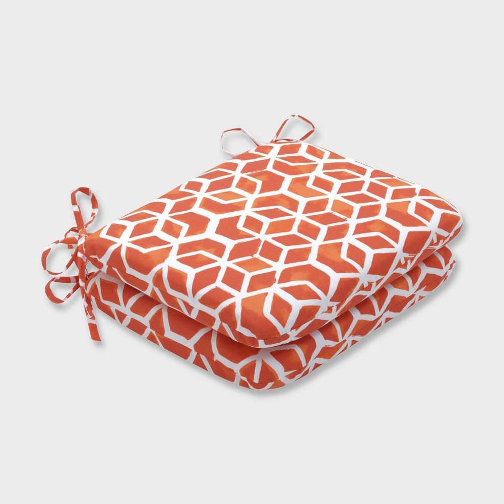 2pk Celtic Marmalade Rounded Corners Outdoor Seat Cushions Orange - Pillow Perfect