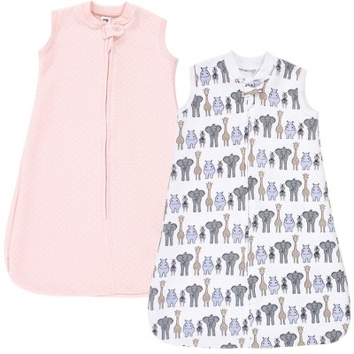 Hudson Baby Infant Girl Premium Quilted Sleeveless Sleeping Bag and Wearable Blanket, Pink Safari