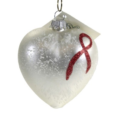 Larry Fraga Heart With Red Ribbon Ornament Christmas Red Ribbon  -  Tree Ornaments