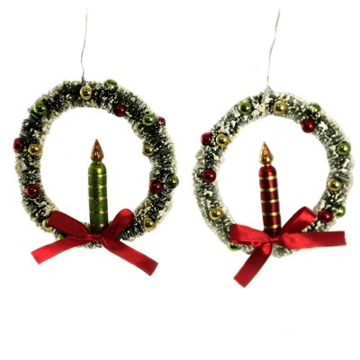 """Christmas 5.0"""" Traditional Candle In Wreath Ornament Set/2 Vintage Lowe  -  Ornament Sets"""
