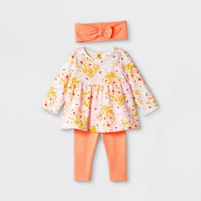 Baby Girls' Floral Top & Bottom Set with Headband - Cat & Jack™ Peach 6-9M