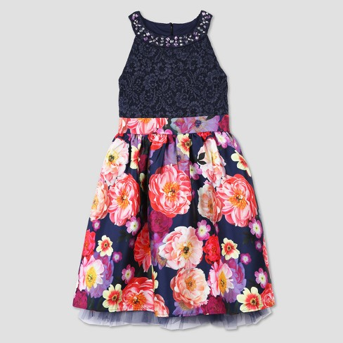 Lots of Love by Speechless Girls' Floral Spring Dress - Black/Pink - image 1 of 1