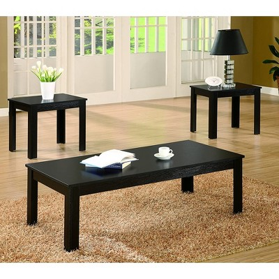 Coaster Home Furnishings 3 Piece Occasional Solid Wooden Indoor Rectangular Home Table Set with Coffee Table and 2 End Tables, Black