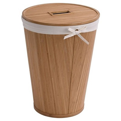 Ecostyle Home Round Hamper With Lid Light Brown Bamboo - Creative Bath